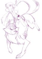 Aegis the wolf and Abigail by Aegis-the-hero