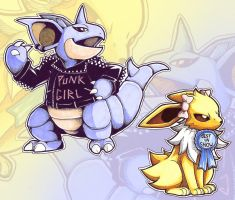 Nidoqueen and Jolteon