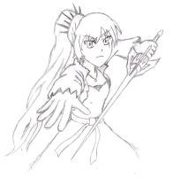 Weiss Sketch (RWBY) by AlphamusPrime