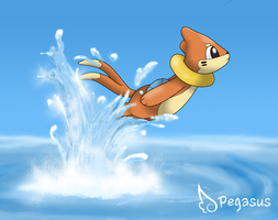 Jumping Buizel by LudiculousPegasus