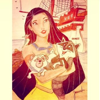 Pocahontas, Meeko, Percy and Flit drawing by elegy01