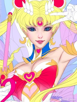 Super Sailor Moon - Line Art by MichelleHoefener