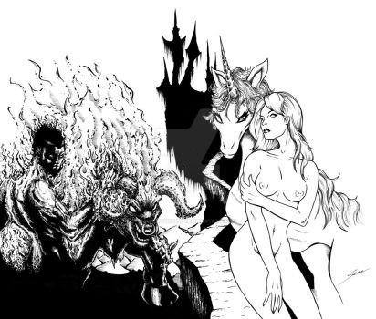 Last Unicorn BW by fromthedead