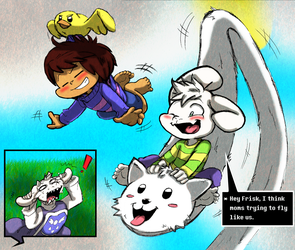 Undertale: Frisk and Asriel learn to fly! by Neloku