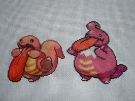 Cross-stitched Lickitung Family