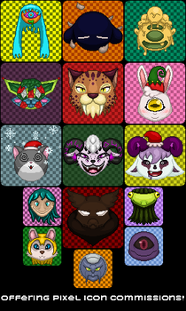 Offering Pixel Icon Commissions! (2018 Edition) by knux400
