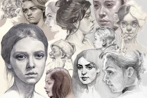 Face drawings (Basic training) by oosterbe