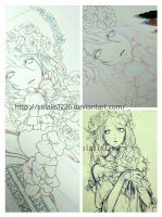 roughsketch and Line drawing of Blue rose garland by solalis1226