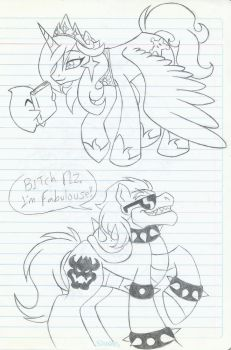 Rosalina and Bowser as Ponys (old sketches) by MileenaKoopa