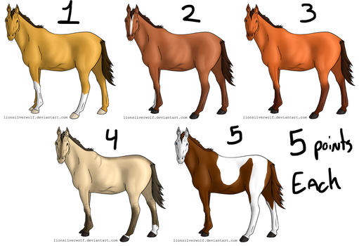 OPEN 5 Point Horse Adopts by lionsilverwolf