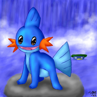 Mudkip by the Waterfall by pdutogepi