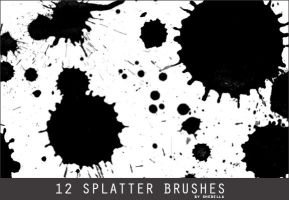 12 Splatter Photoshop Brushes by shebella