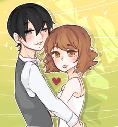 Colored Sketch Dave and Airi by myneea