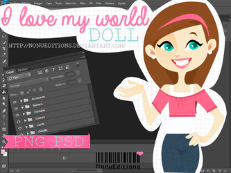 I love my world (.PSD/.PNG) by Nonuu