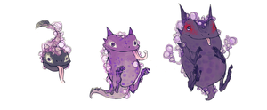 Realistic Gastly evolution line by Gnin