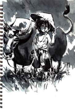 the boy and his buffalo by buta0309