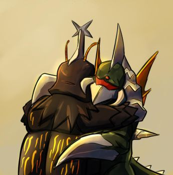 Gigan hugging Megalon by Eevee2dark