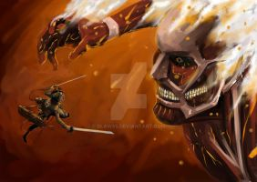 Attack On Titan : Eren under Fire by Dlaw85