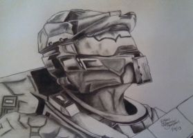 Master Chief from Halo Drawing in Pencil/Charcoal by rockinrobin581