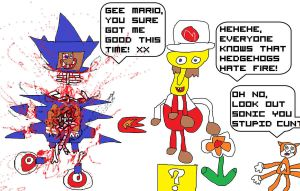 SANIC VERSUS CHEETING FIYRE MAREEO! PLUMB SCUM by unimpeachable