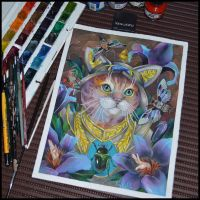 Watercolor Guardian Cat by Xenija88