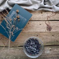 Wire copper necklace and blueberries by UrsulaJewelry
