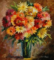 Flowers of love by Leonid Afremov by Leonidafremov