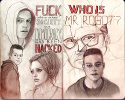 Traditional fan art -Who is MR.ROBOT by AlenaMoreona