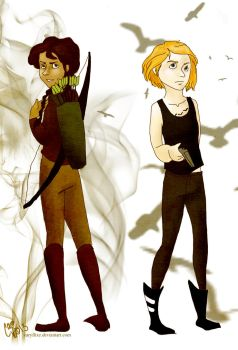 Katniss and Tris by caryllixe