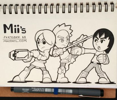 INKTOBER 11 Mii Fighters by FlintofMother3