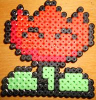 Mario Fire Flower - Perler or Hama by Chrisbeeblack