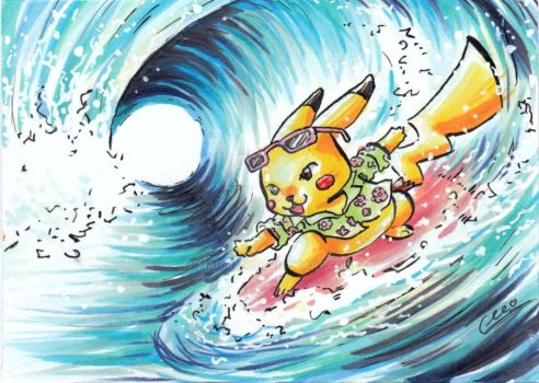 Pika's gonna surf da mother! by Mahira-K