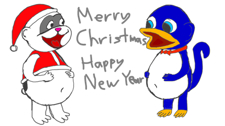 Monguin and Domino Christmas/New Year by Monguin