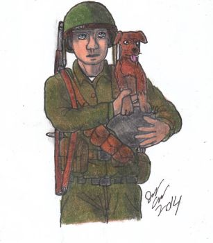 A soldier and his puppy by AviatorGriffin