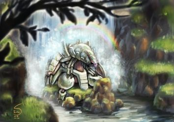 768 Golisopod under the waterfall by 000SanS000
