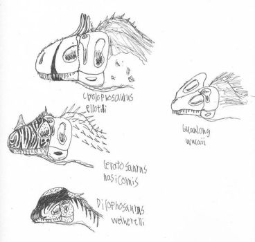 Crested Theropod medley by Dilong-paradoxus