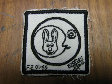 whovianart 'moon rabbit' design embroidered patch by whovianart