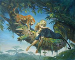 Woman with 2 cats painting by Moulunerie
