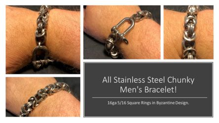 Chunky Men's Bracelet! by graywolfsmaille