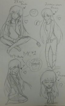 Mystic messenger MC 1 outfits  by Samm56641