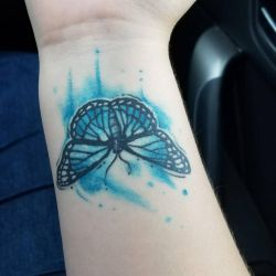 Watercolor Butterfly Tattoo - HEALED  by InsaneRoman