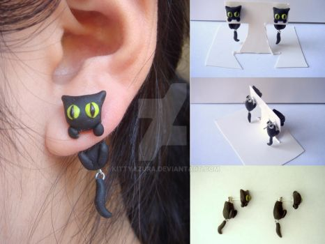 Black Cat Clinging Earrings