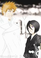 Ichigo the quincy and Rukia the shinigami by noodlemie