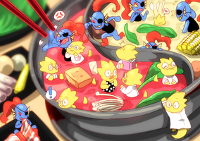 Alphys Undyne hot pot by NNbadbear