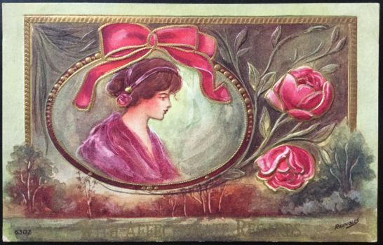 Art Nouveau Postcard - With Affectionate Regards by KarRedRoses