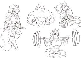 Furry muscle girl workout by Vajter