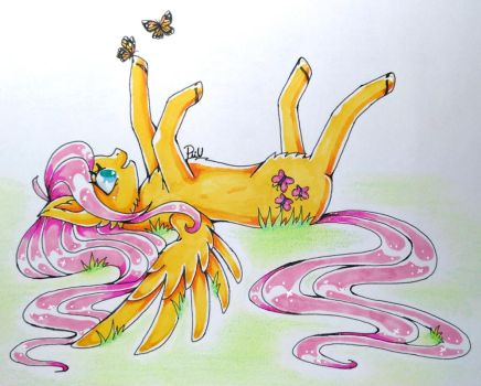 Chilling Fluttershy by Piiunivers