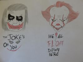 Joker and Pennywise by wastelander-nick