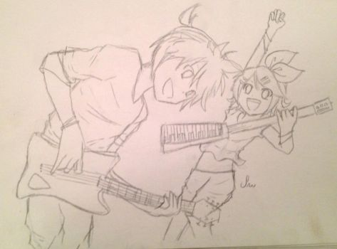 Rin an Len sketch [before coloring] by HatsuneMiku012