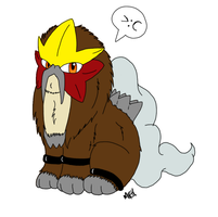 Entei is not amused by FlameEtain